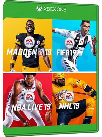 EA Sports Bundle 19 4 juegos de deportes FIFA 19, Madden 19,  NBA Live 19 y NLH 19 Xbox One