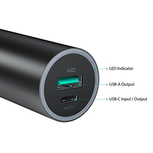 AUKEY USB C Cargador Portátil 5000mAh, Salida USB C 5V 3A + Salida USB A 5V 2,4A