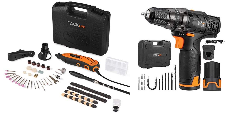 Tacklife Mini amoladora eléctrica // Tacklife PCD03B - Taladro Atornillador 12V