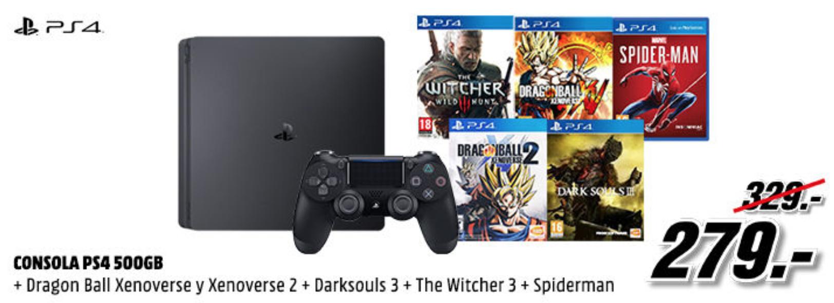PS4 Slim con 4 juegazos por solo 279€