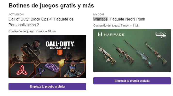 Paquete extra para juegos - Twitch