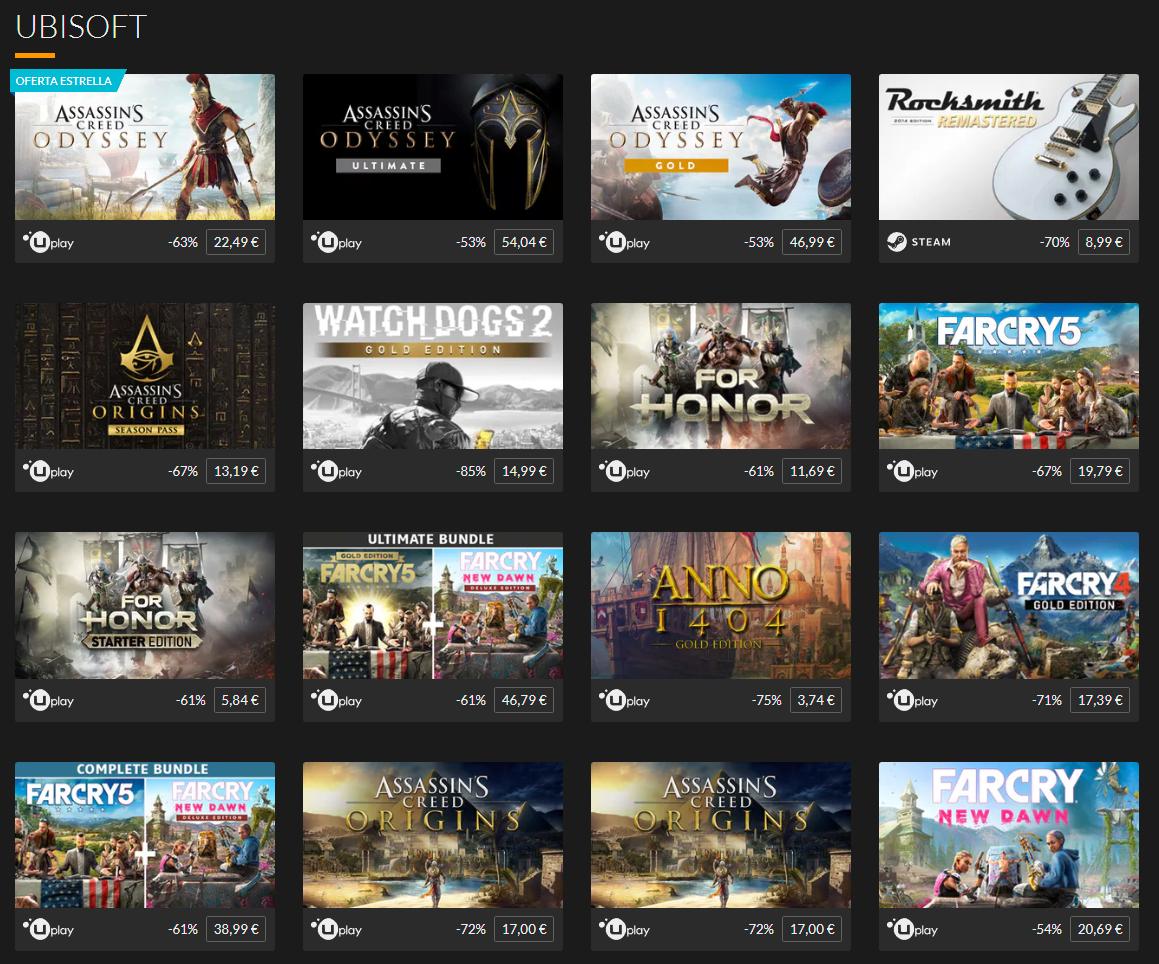 Descuentos Ubisoft, hasta un 80%
