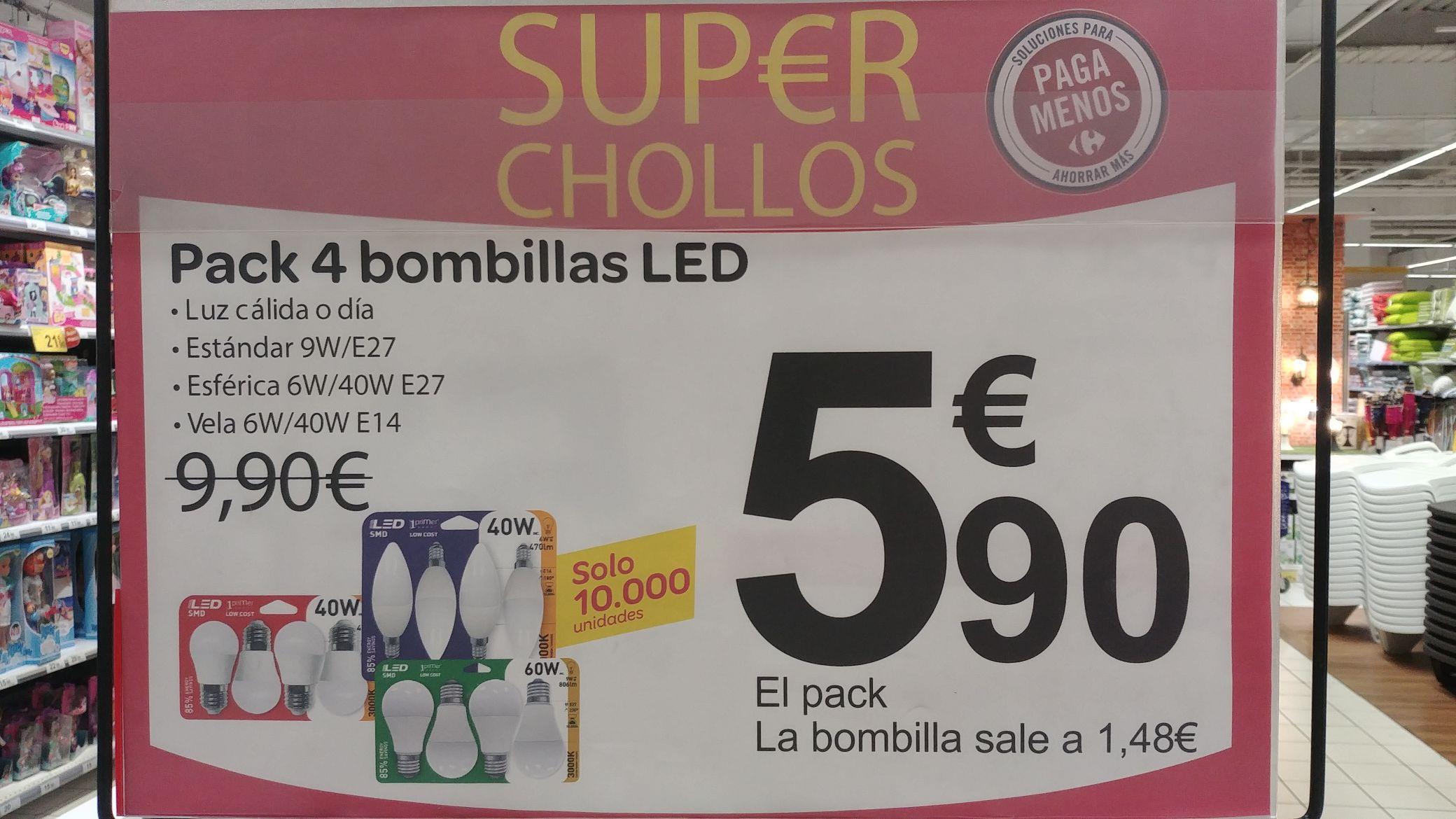 Bombillas led 6 y 9 w en Carrefour a 1,48€ cada una