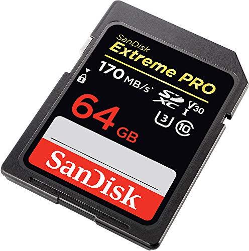 SanDisk Extreme Pro - Tarjeta de Memoria SDXC de 64 GB, 4k, hasta 170 MB/s, Class 10, U3 y V30