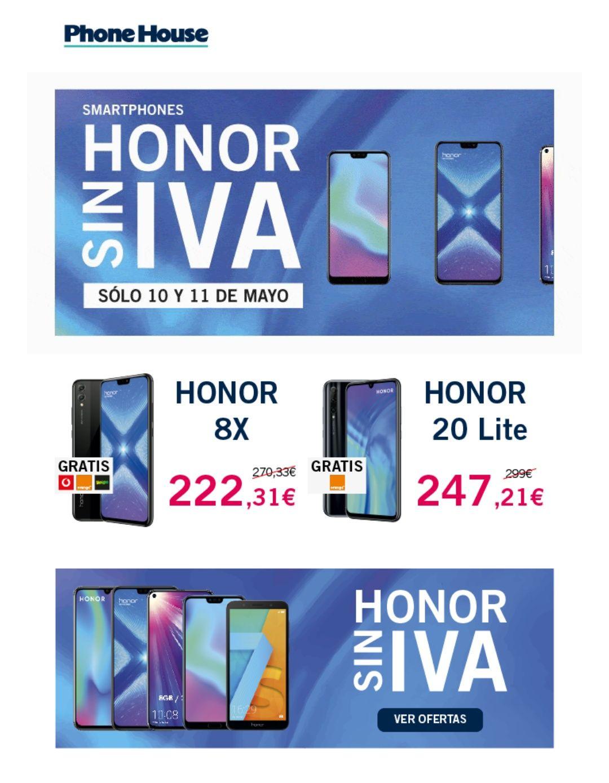 Teléfonos Honor SIN IVA