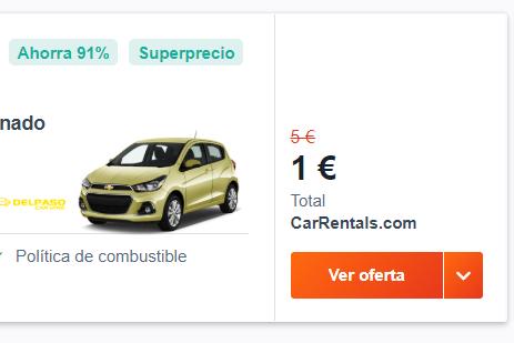 Alquiler de coche 1 semana por 1 euro o menos