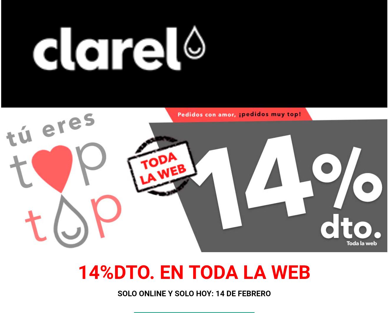 CLAREL: 14% DTO. (SÓLO HOY) + 5€ Cupón Febrero