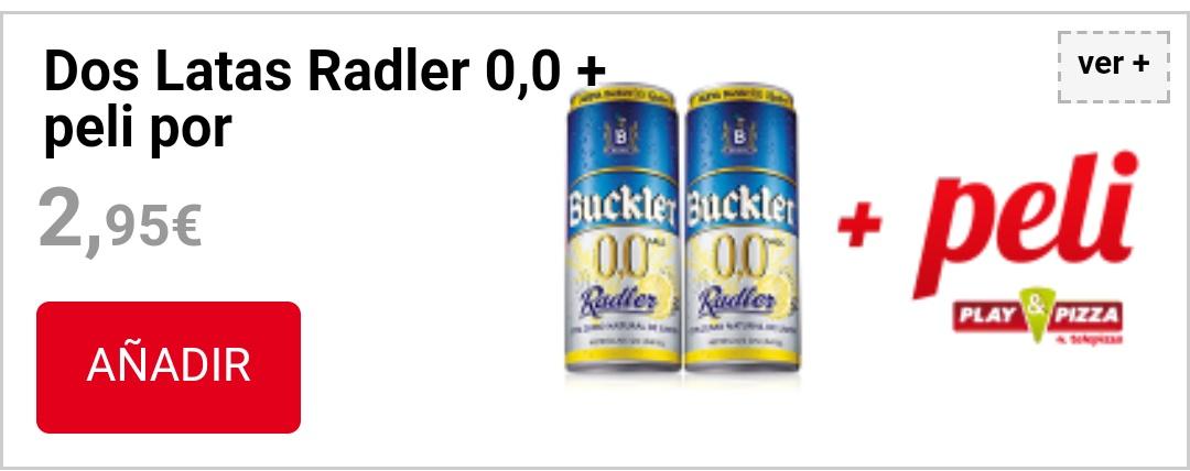 2 latas Radler 0,0 y llévate además una peli  (Telepizza)