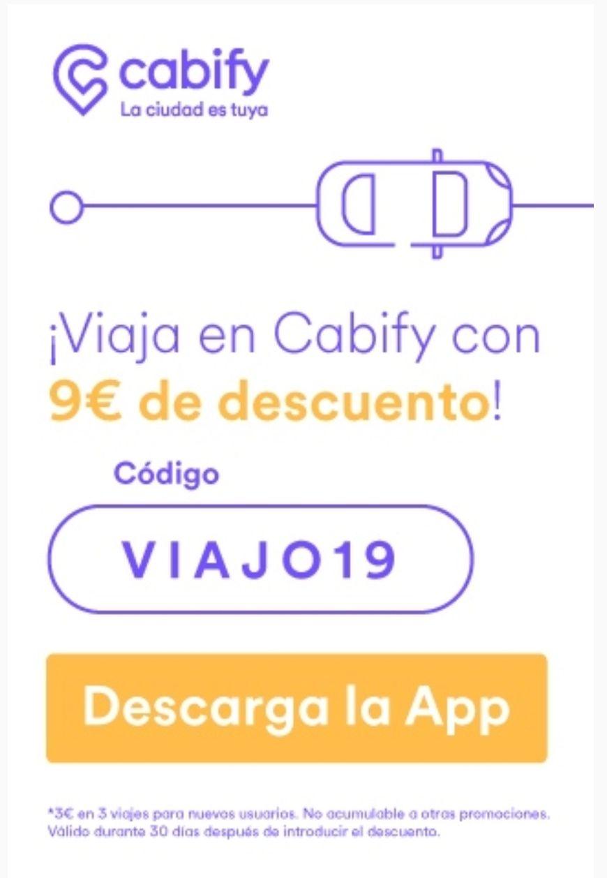 Cabify - Consigue 3€ de descuento en tus 3 primeros viajes.