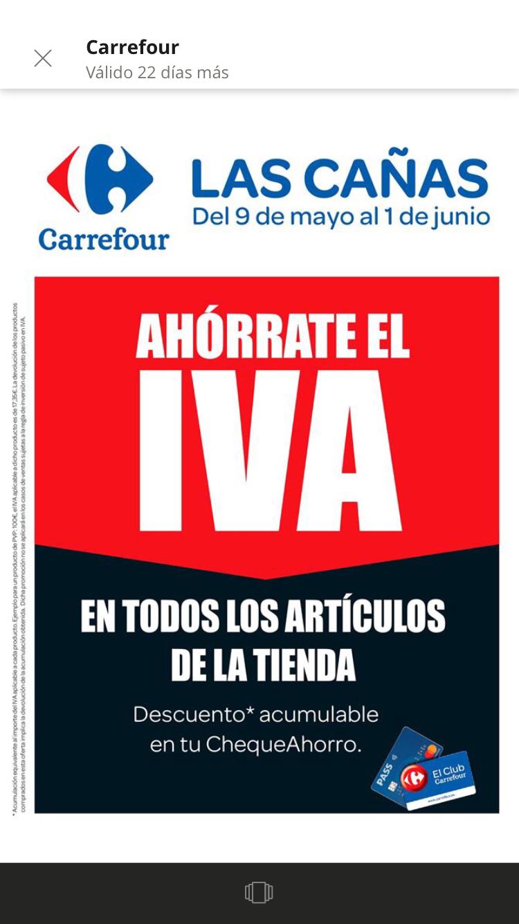 Ahorra el IVA en todos los artículos de Carrefour Las Cañas (Viana) + 40% de descuento
