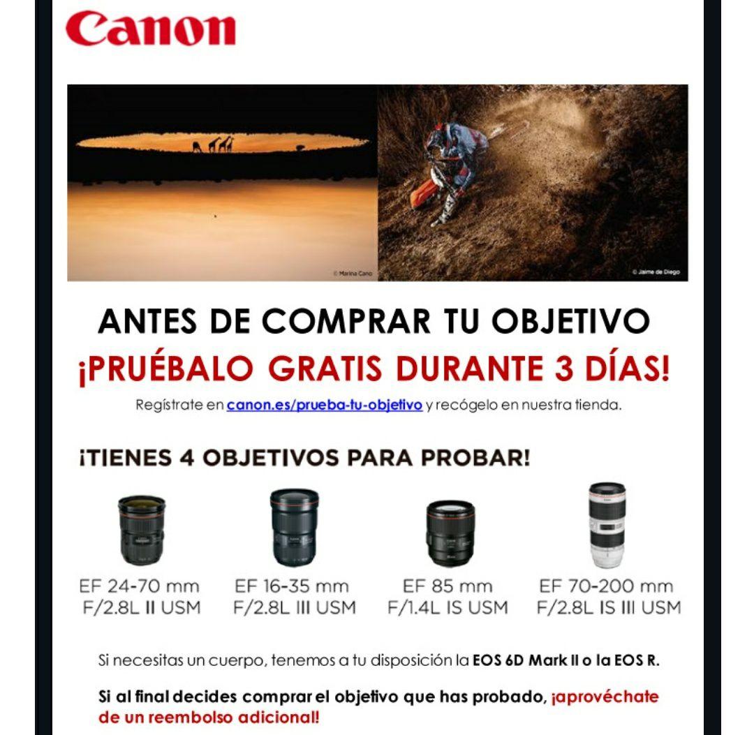 Prueba objetivos Canon GRATIS y luego obten descuentos
