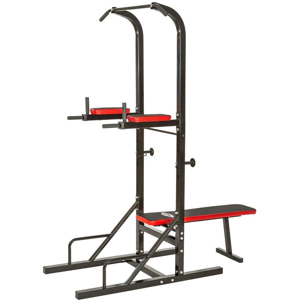 Máquina musculación multiestación con barras para dominadas y banco de entrenamiento