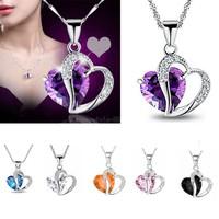 1PCS Womens 925 Collar de Plata Esterlina/ Cristal Corazón Colgante, Regalo, Lindo