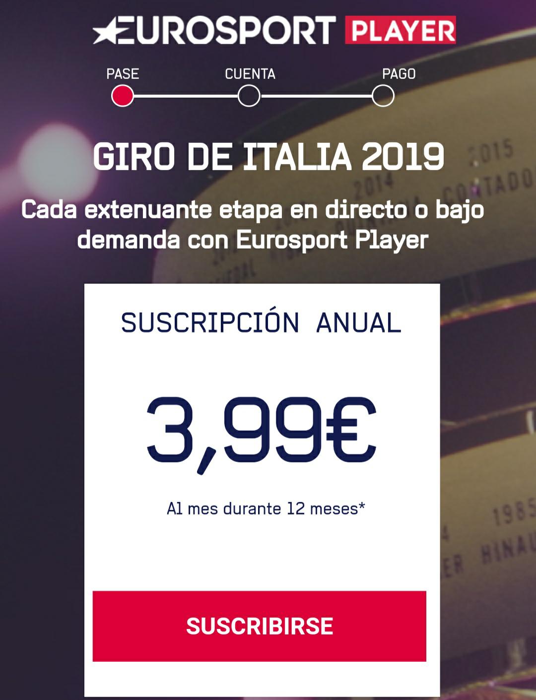 Promoción Eurosport Player por sólo 3.99€/mes durante un año