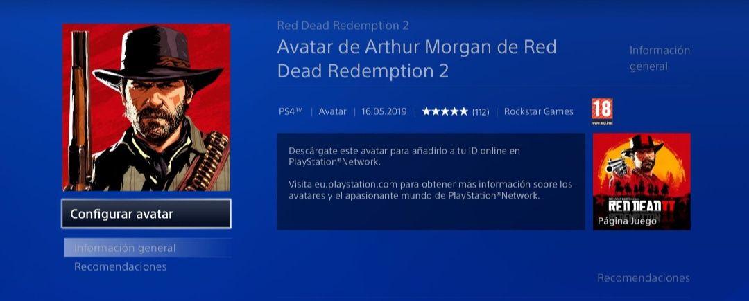 Colección de avatares RDR2 PS4