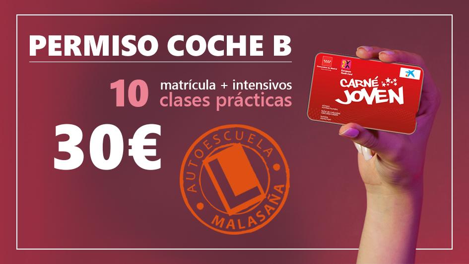 PERMISO CONDUCIR B POR 30 € (incluyeMatrícula + intensivos + 10 clases prácticas) y además clases gratis por traer amigos.