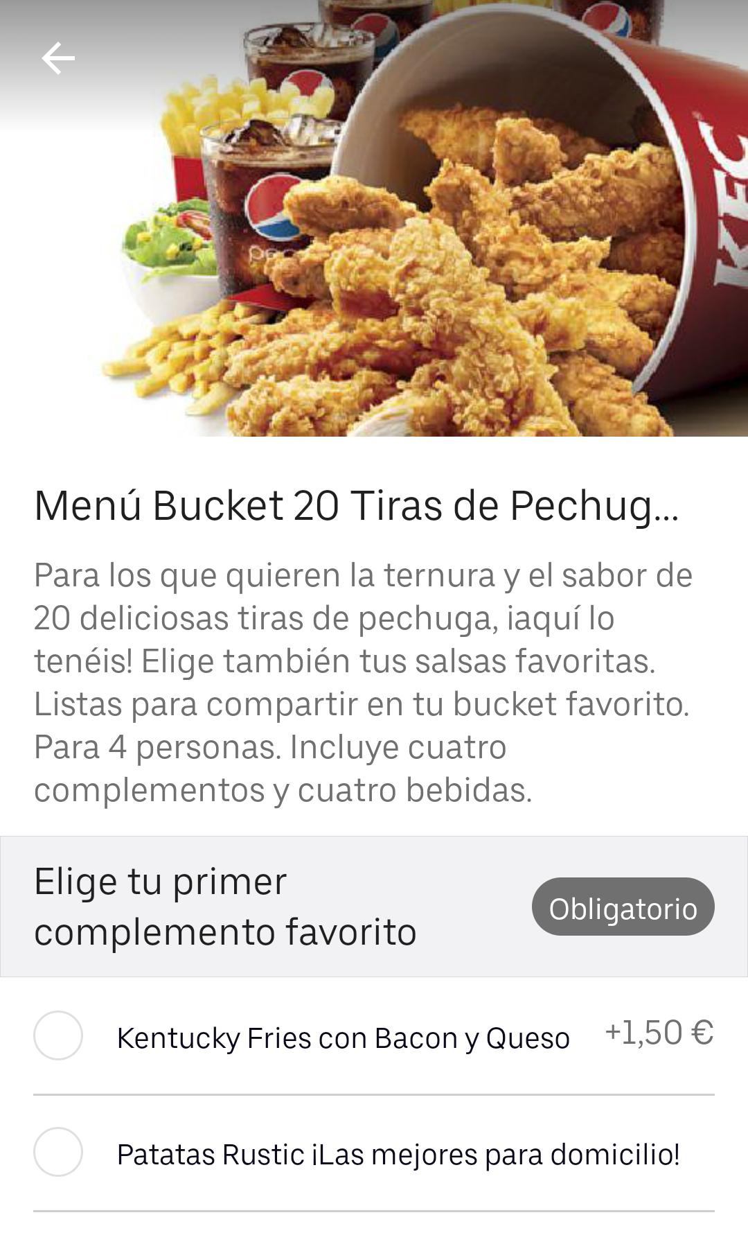 Uber Eats KFC 4 bebidas gratis