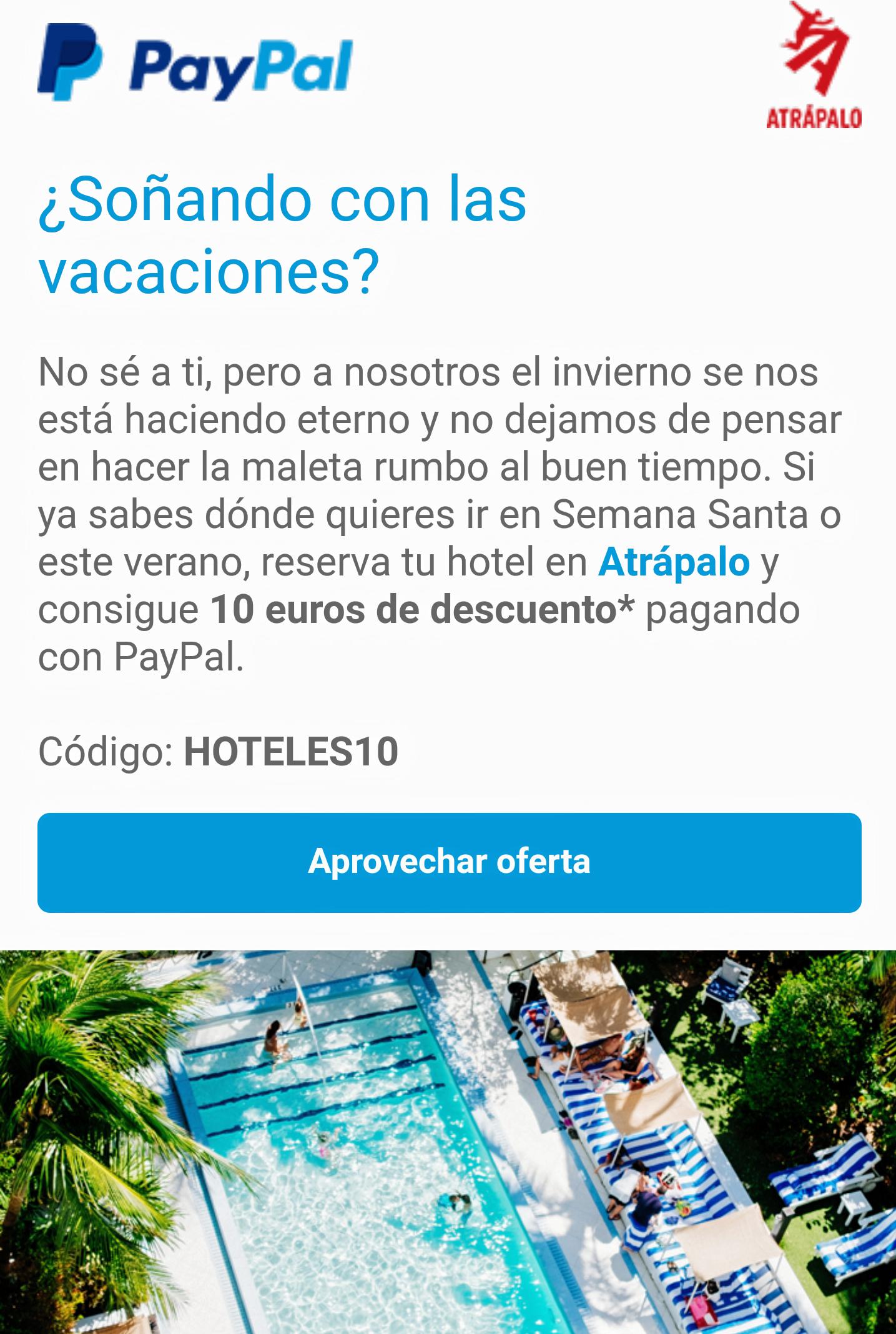 10€ descuento por pagar con PAYPAL en AtrapalO
