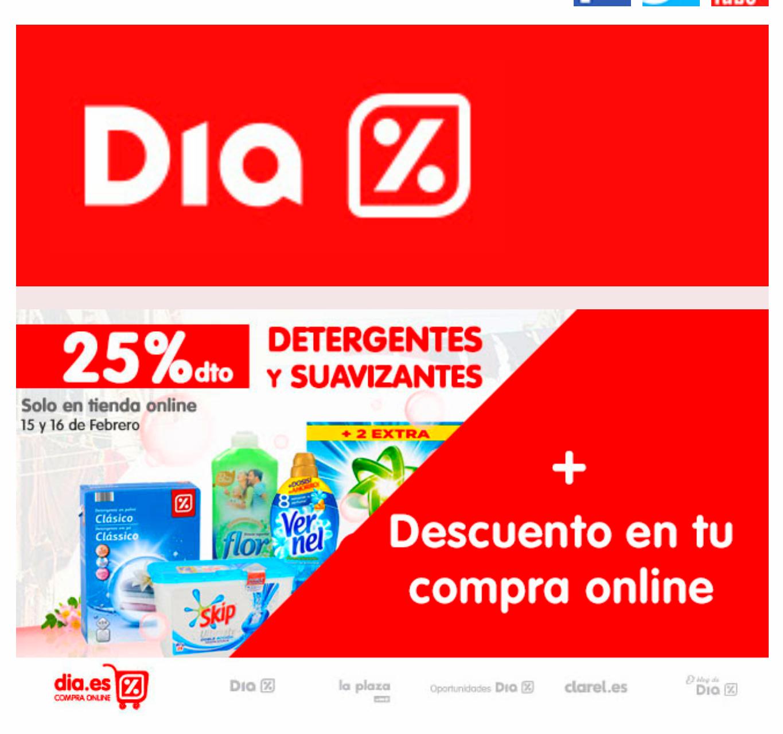 10€ descuento y 25% descuento (detergente y suavizante)