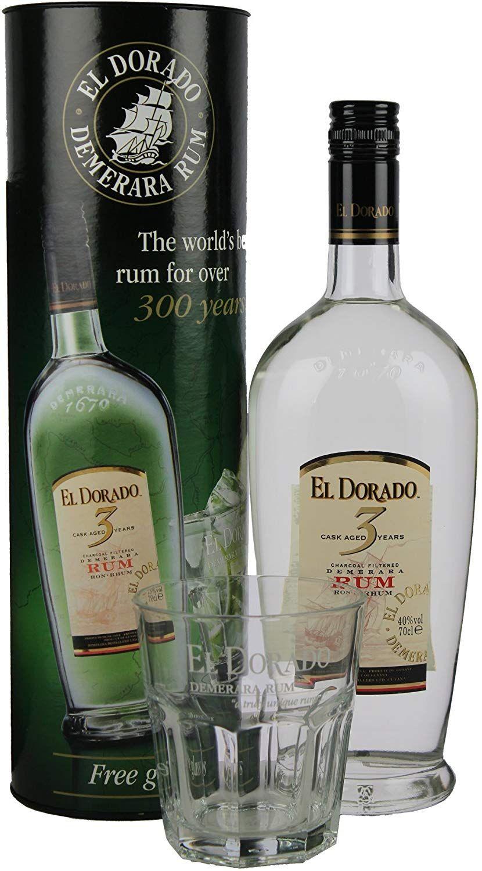 Ron El Dorado 3 años + vaso de regalo - 700 ml.