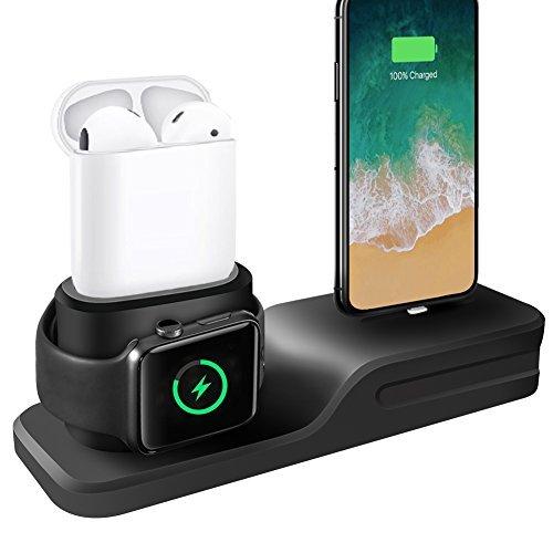Base de carga 3 en 1 para iPhone, AirPods y Apple Watch.