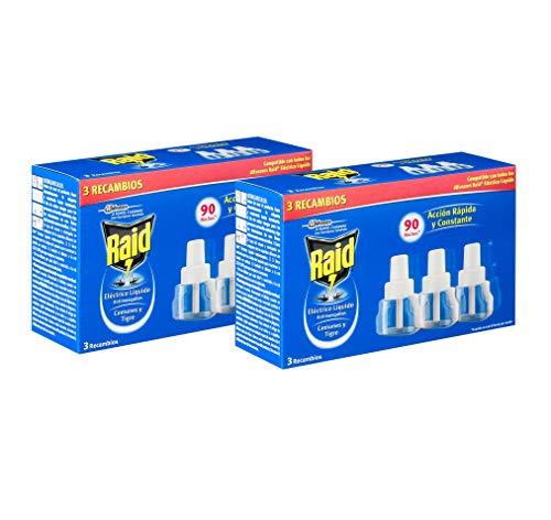 Raid antimosquitos 2 packs de 3 recambios.