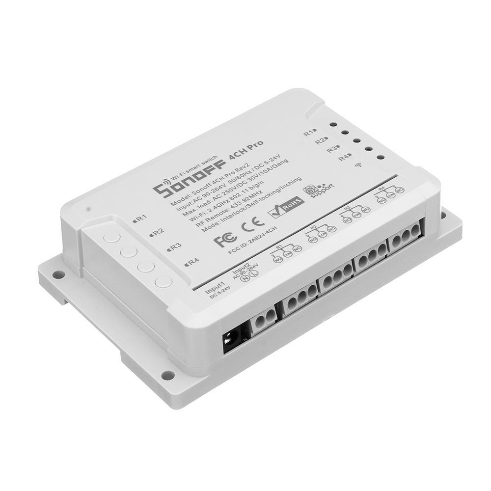 Lorsoul Sonoff 4CH Pro Switch R2 Inteligente, 4 Canales de 433 MHz 2.4G WiFi