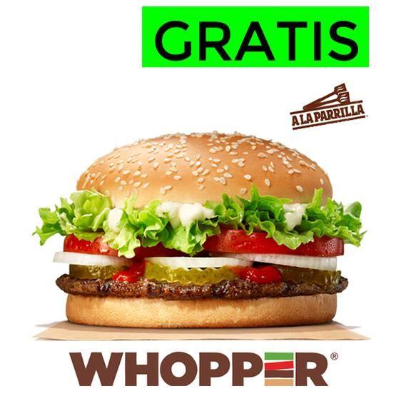 Menú Whopper GRATIS con tu pedido en Burger King en casa