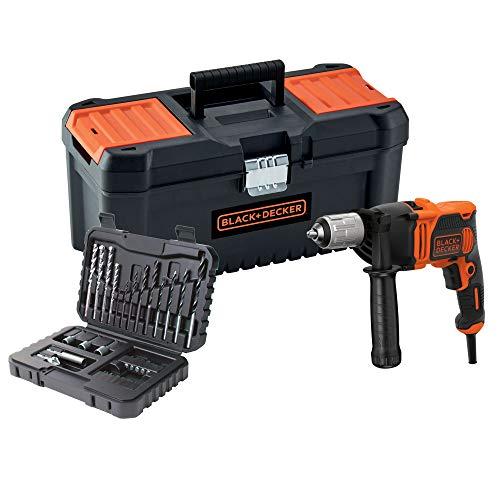 BLACK&DECKER Taladro percutor 850W + set de 32 accesorios y caja de herramientas