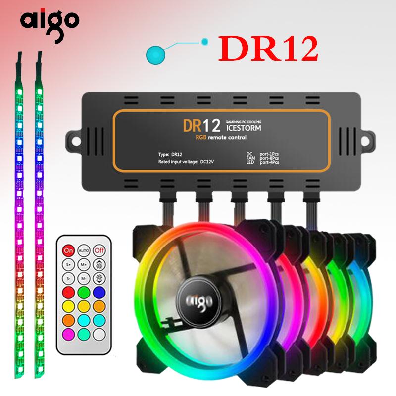 Aigo DR12, 3 ventiladores rgb 120mm y 2 tiras 30cm rgb con controladora y mando a distancia