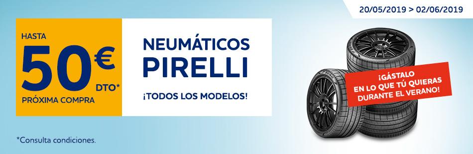 Regalo de 20 o 50 euros con neumaticos Pirelli