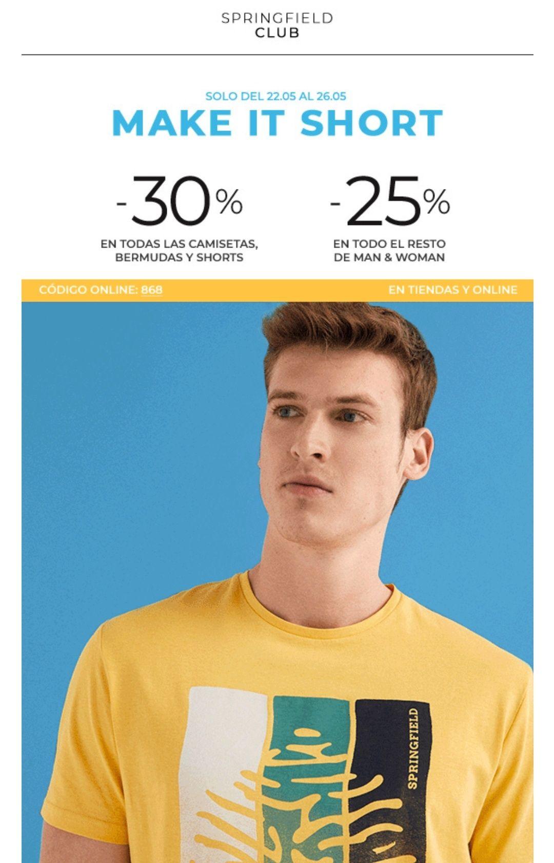 EXCLUSIVO: -30% en TODAS las camisetas, bermudas y shorts y -25% en TODO lo demás.