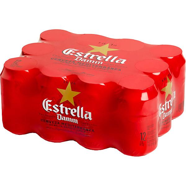 ESTRELLA DAMM cerveza rubia nacional pack 12 latas 33 cl