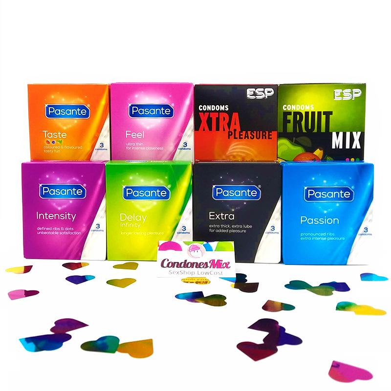 144  Condones + vibrador + lubricante + surtido de 24 condones variados pasante