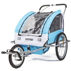 Remolque bicicleta niños 2 plazas plegable homologado carrito paseo azul.