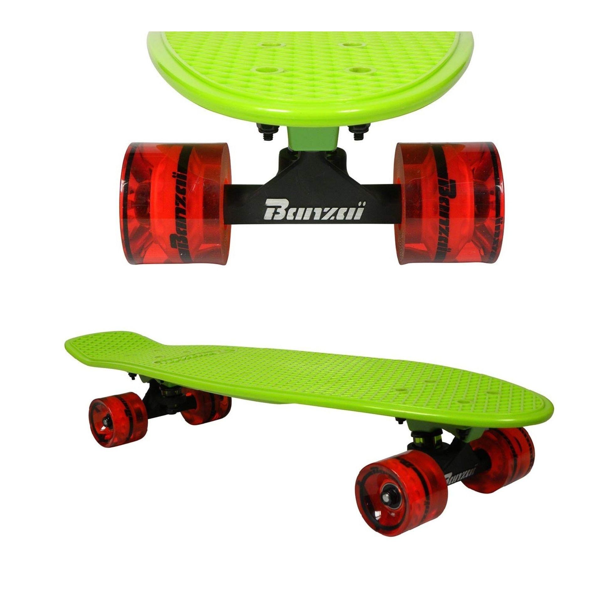 BANZAI Skateboard Vintage 22,5'' Verde/Naranja