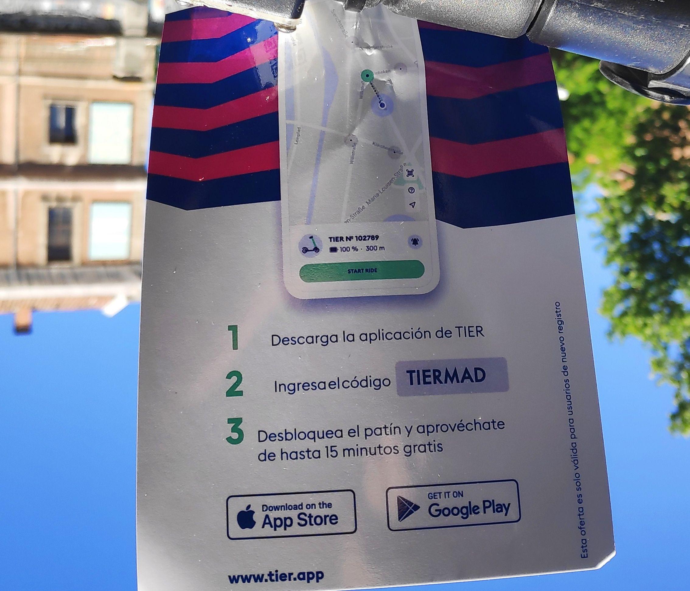 Patinetes TIER Madrid 1 viaje gratis