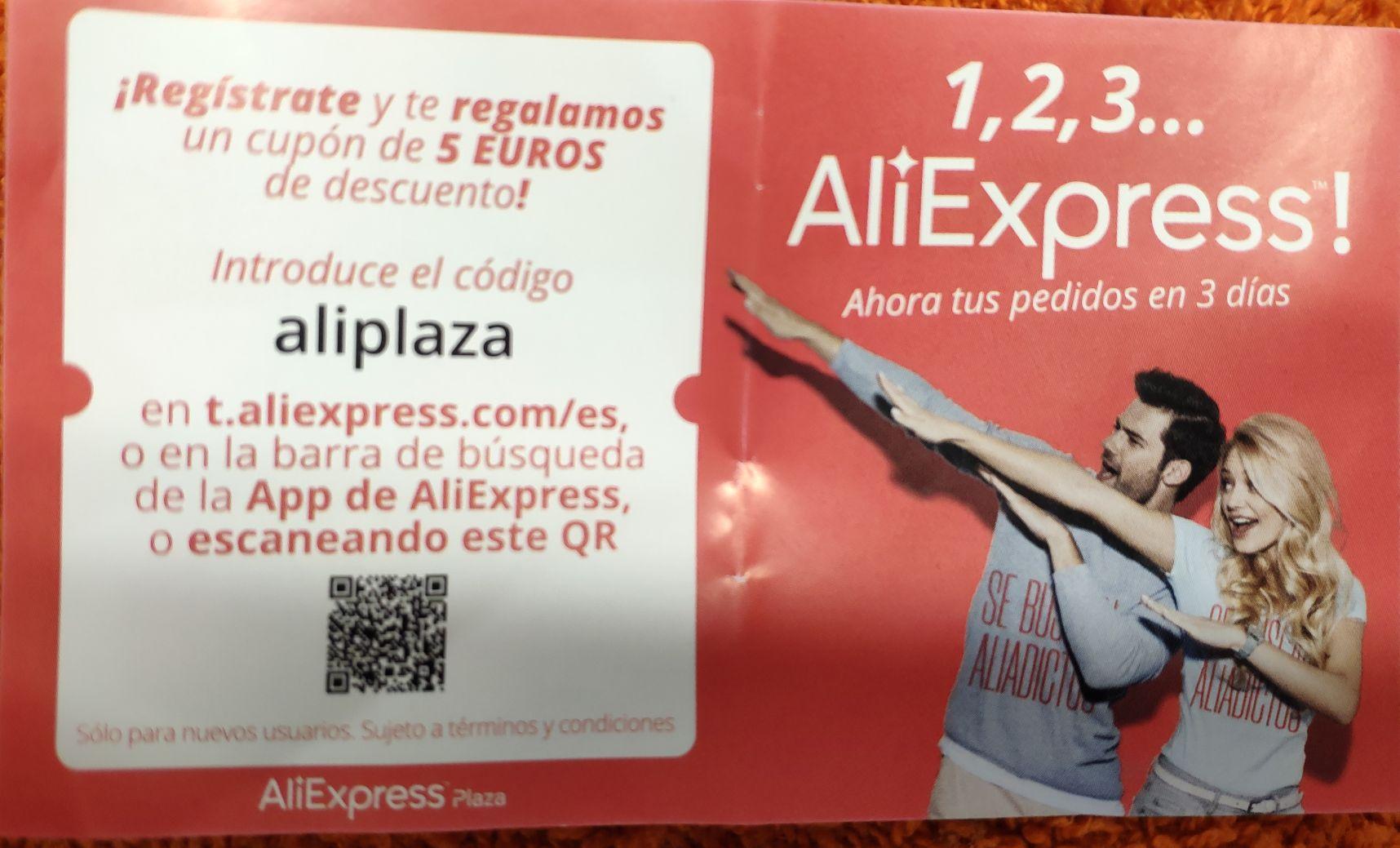 Cupón descuento 5€ AliExpress Plaza (Nuevos Usuarios)