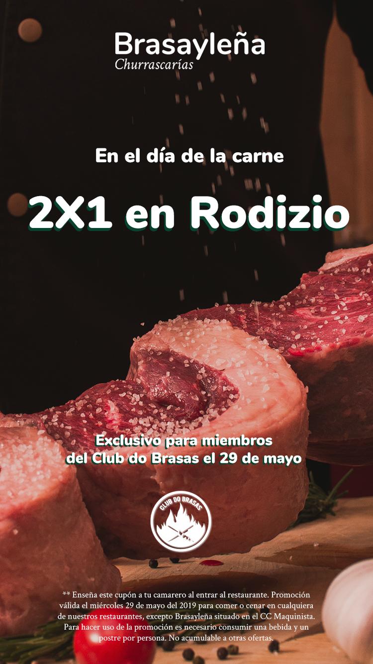 2x1 brasa y leña día de la carne