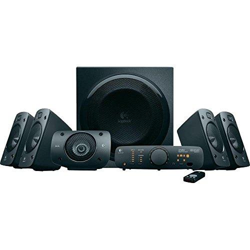 Logitech Z906 - Sistema de altavoces 5.1 con sonido envolvente, 500 W, mando inalámbrico, DVD, Blu-ray, color negro