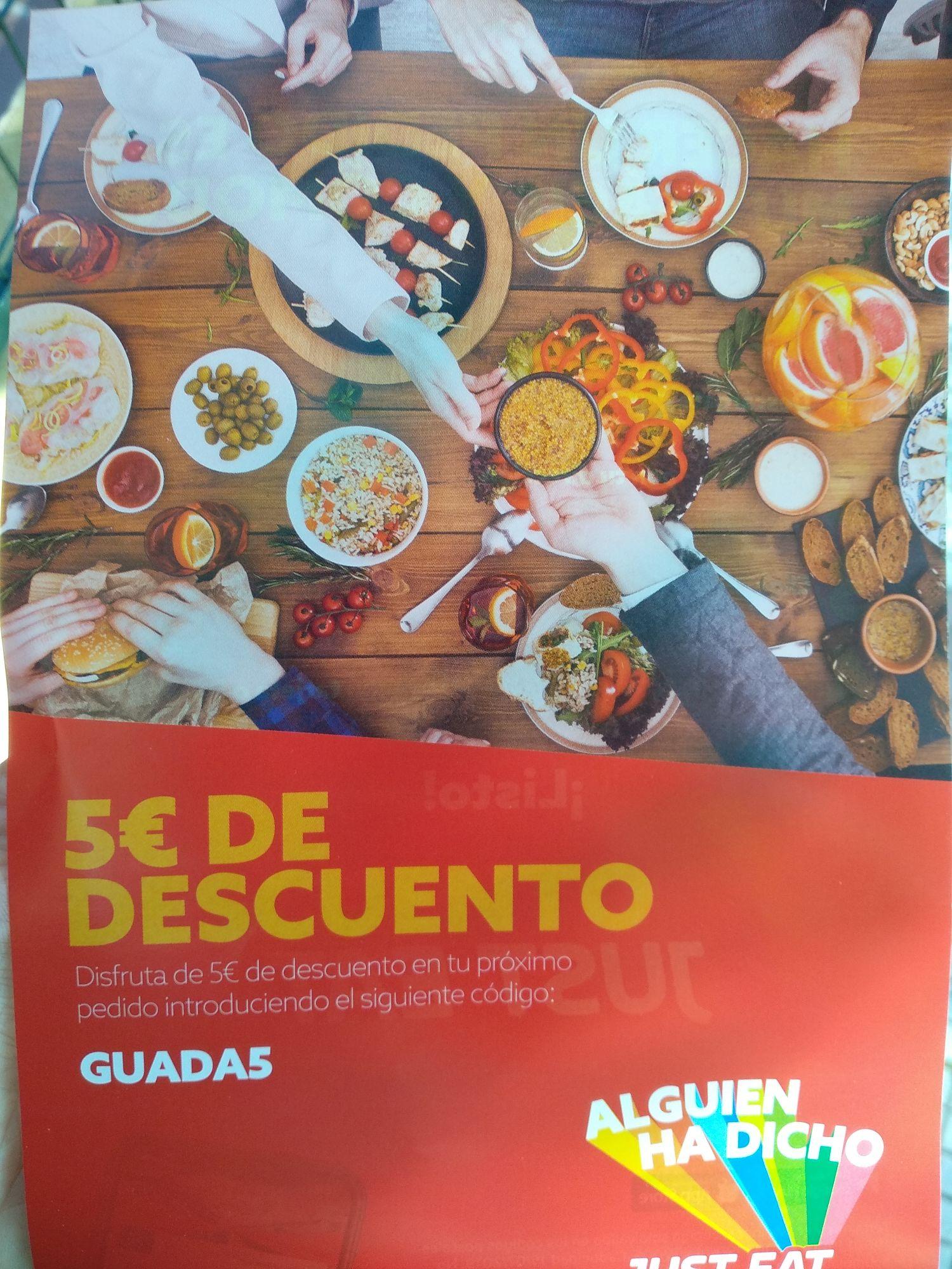 5€ descuento Just Eat en pedidos de +10€ en Guadalajara