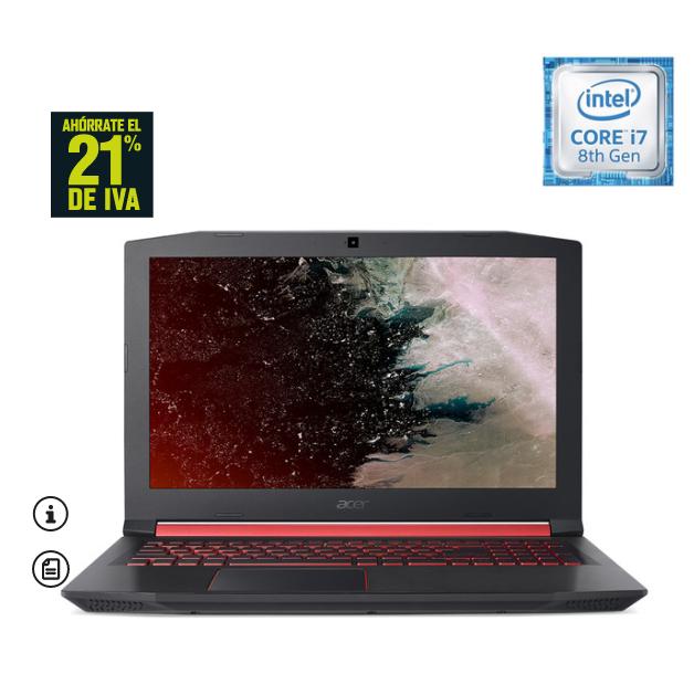 Portátil Gaming Acer Nitro 5, GTX 1060 6GB, i7 8750H @4.1Ghz , 8 GB DDR4, 16 GB Optane, 1 TB HDD