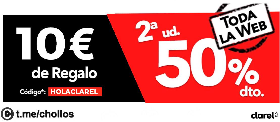 50% en 2ª Unid. + 10€ descuento en Clarel
