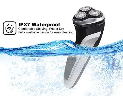 NPET ES8109 Máquina de Afeitar Eléctrica Impermeable IPX7 Afeitadora Eléctrica con Tres Cabezales e Indicador Presciso de bateria en La Pantalla – Negro Plata