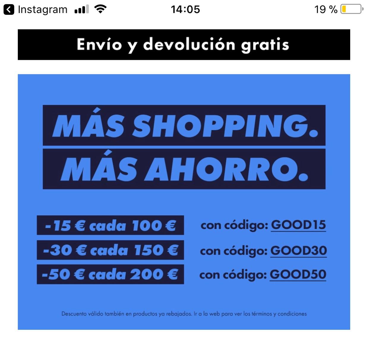Codigo de descuento en asos, dependiendo del importe descuento de 15, 30 o 50 euros.