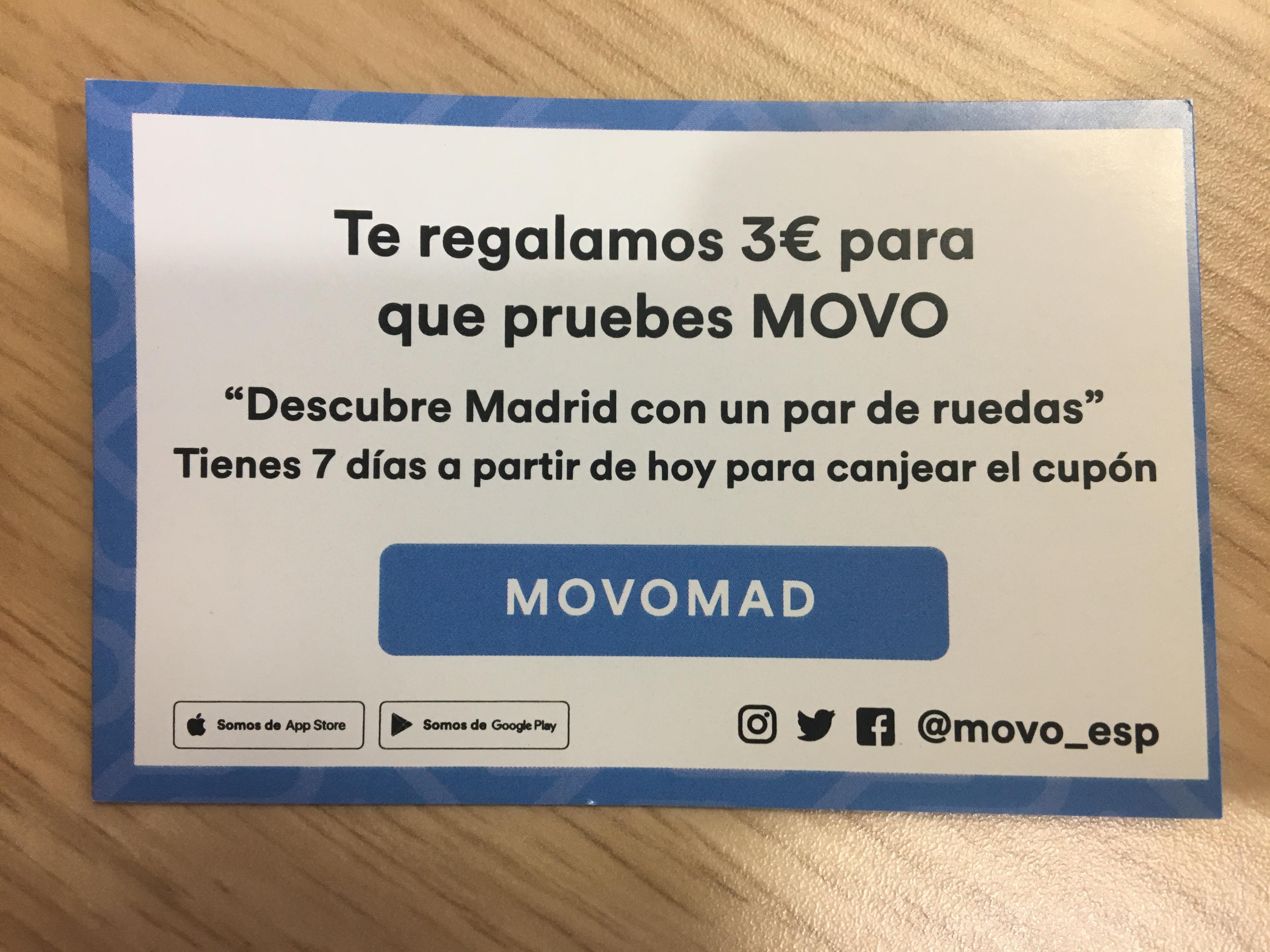 3€ gratis en motos eléctricas MOVO (sólo para nuevos usuarios)
