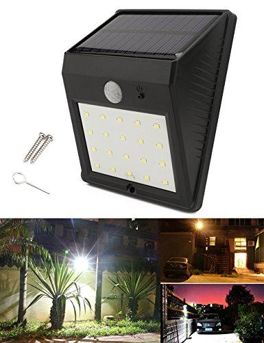 Foco solar LED con 20 LED y sensor de movimiento