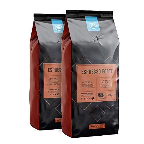 """Marca Amazon - Happy Belly Café de tueste natural en grano """"Espresso Forte"""" (2 x 500g)"""