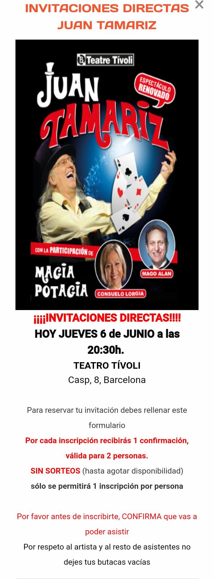 GRATIS Entradas Juan Tamariz HOY (BCN)
