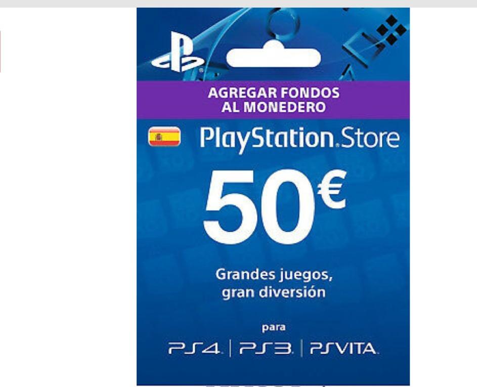 50€ Tarjeta Prepago PlayStation Network PSN PS3 PS4 PS Vita Código 50 E - ES